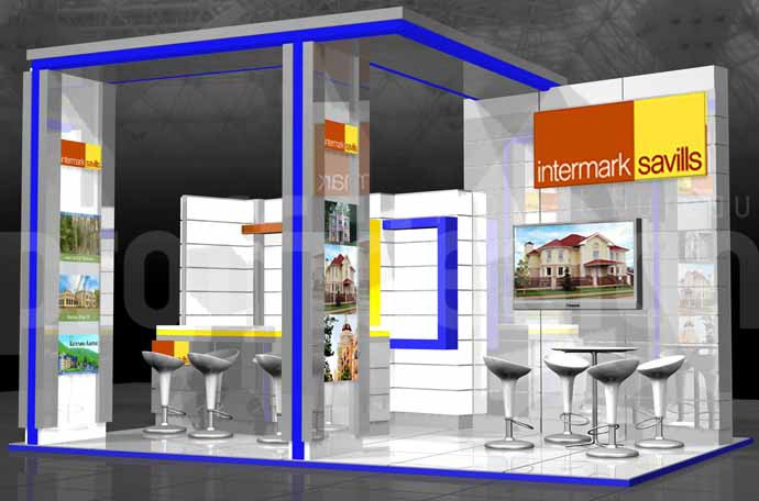 Дизайн проект выставочного стенда бизнес класса компании Intermark
