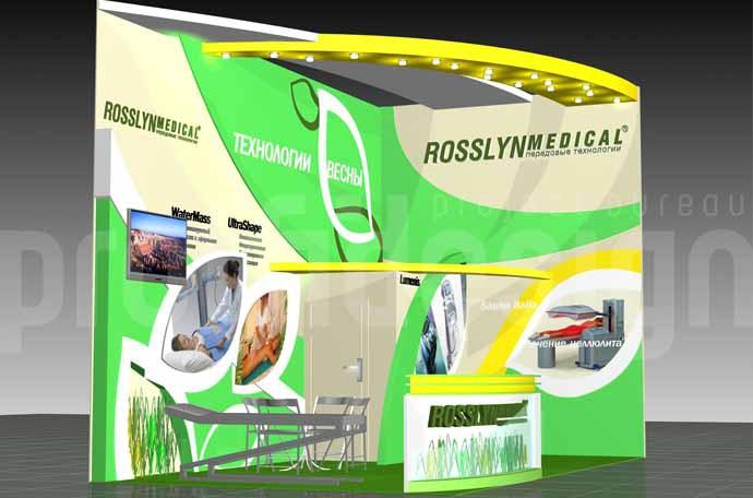 Дизайн выставочного стенда бизнес класса компании ROSSLYN MEDICAL- 3Д-моделинг.