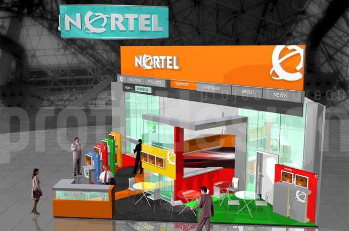 Дизайн выставочного стенда бизнес класса компании NORTEL - 3Д-моделинг.