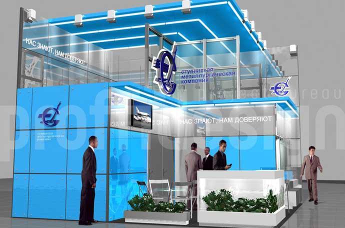 Дизайн выставочного стенда бизнес класса для «Ступинской металлургической компании», 3Д-моделинг