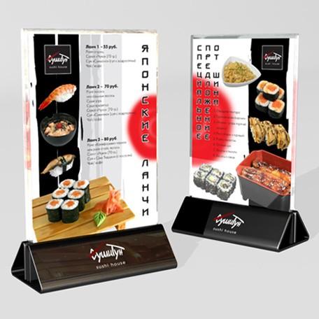 Дизайн настольного меню (тейбл тент) для сети ресторанов «СушиТун».