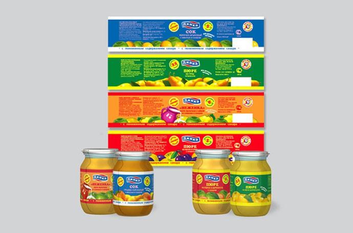 Разработка этикеток для детского питания под маркой «Динка»