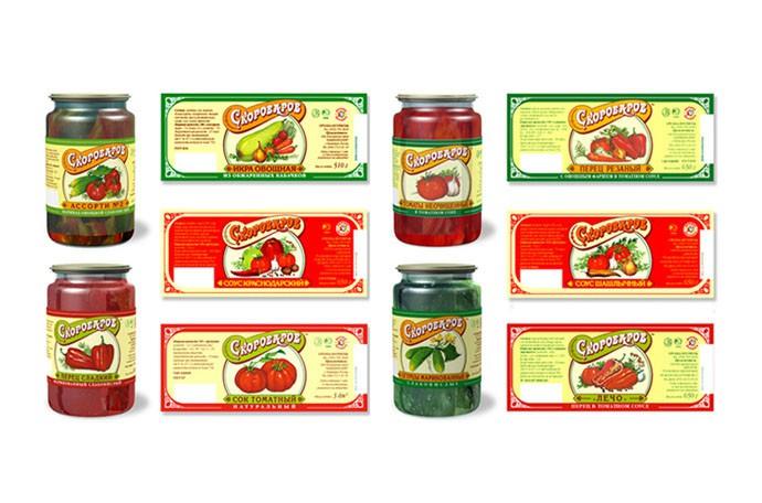 Дизайн этикеток для консервов марки продуктов питания «Скороваров».