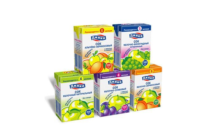 Дизайн упаковки детских соков под маркой «Динка»