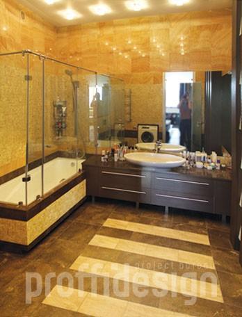 Дизайн интерьера квартиры - большой совмещенный санузел