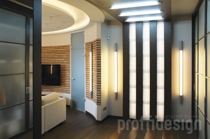Дизайн квартиры- оригинальные шкафы-светильники -фото