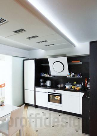 Дизайн интерьера квартиры с декоративным дизайнерским потолком - фото