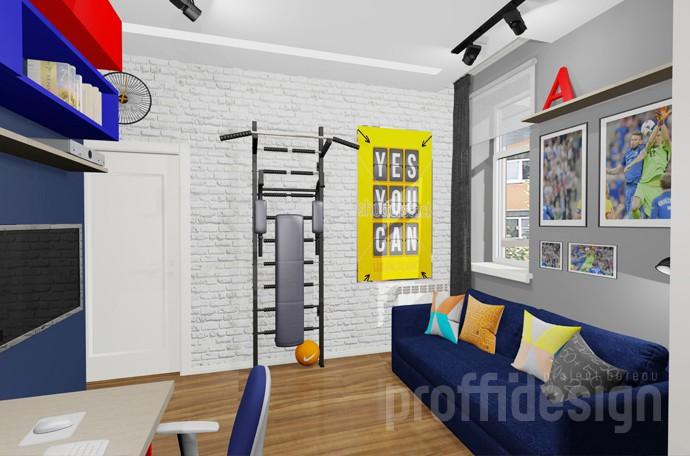 Дизайн-проект комнаты мальчика-подростка в стиле лофт