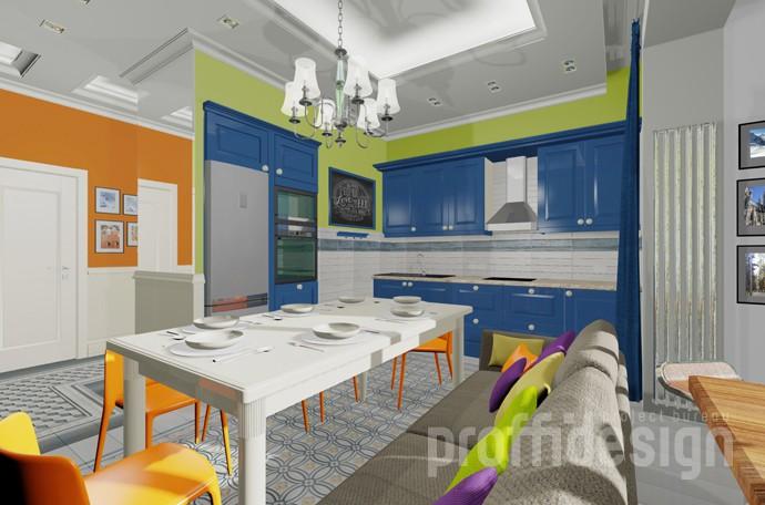 Дизайн-проект яркой кухни: лаймовые стены, синие фасады