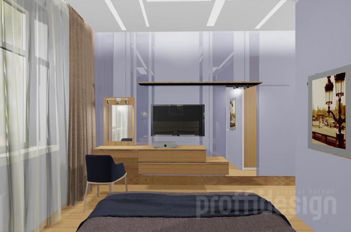 Дизайн спальни - декор стены - зд-визуализация