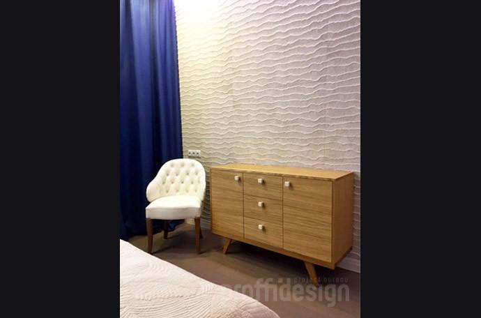 Декоративный камень на стене в спальне