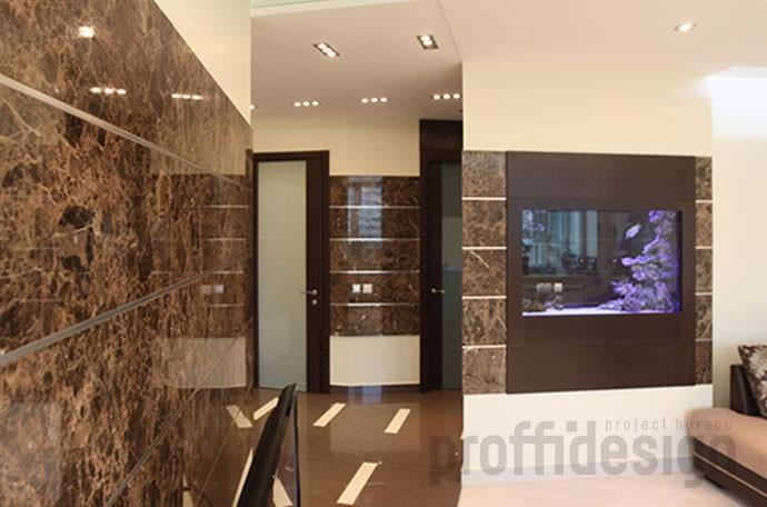 Дизайн интерьера квартиры на Можайском шоссе - гостиная с аквариумом