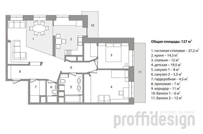 План интерьера московской квартиры на Можайском шоссе
