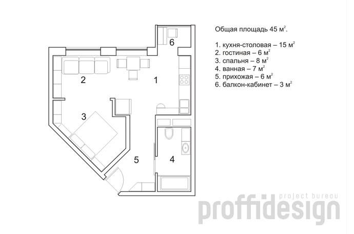 План интерьера квартиры-студии в Москве