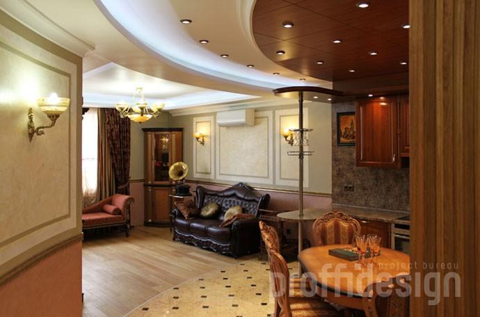 Гостиная, объединённая с кухней и столовой в классическом стиле