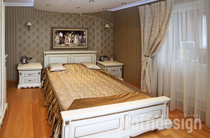 Дизайн интерьера спальни - современная классика - фото