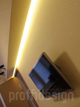 решение для балки в спальне - светодиодная подсветка