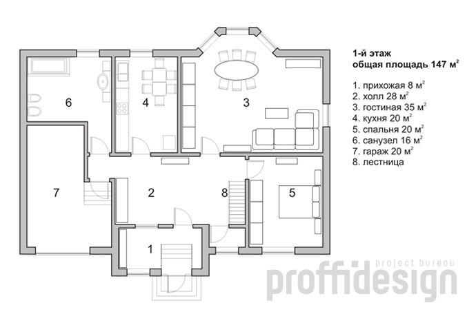 План первого этажа загородного дома на Калужском шоссе МО