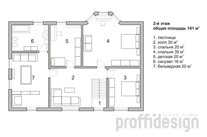 План второго этажа загородного дома на Калужском шоссе МО
