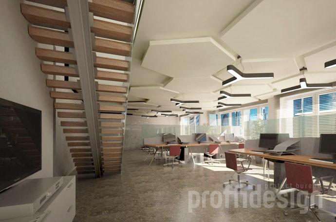 оригинальный потолок в интерьере офиса