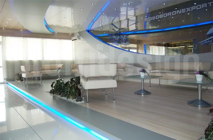 Дизайн интерьера шале компании «РОСОБОРОНЭКСПОРТ» на выставке «МАКС-2009»
