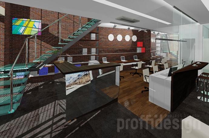 Зона рецепции в офисе на первом этаже