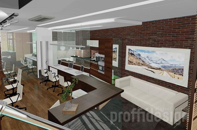 Дизайн интерьера офиса юридической компании, вид с лестницы