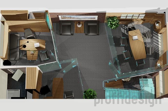Планировочное решение второго этажа офиса в стиле Лофт