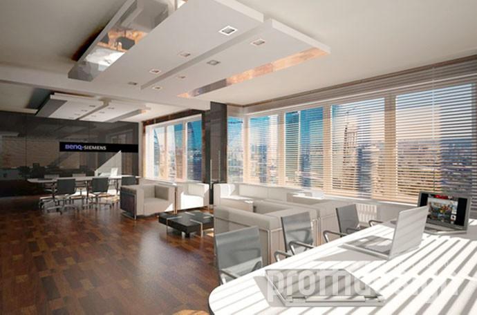 зонирование помещения офиса, оригинальный потолок