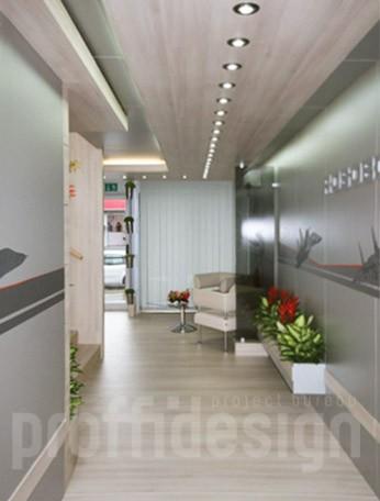 Оформление стен при помощи аппликации в интерьере выставочного шале «РОСОБОРОНЭКСПОРТ»