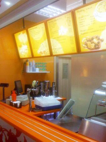 Световые панели меню кафе фастфуд блинной «Блинкоff»