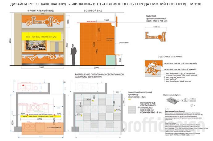 дизайн проект фастфуда Блинкофф в Нижнем Новгороде