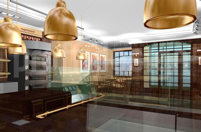 зд-визуализация дизайн-проекта французской пекарни