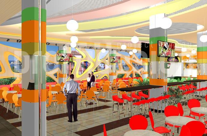 Дизайн интерьера ресторанного дворика, 3д-графика