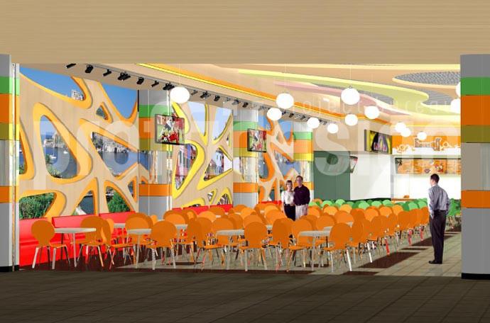 Дизайн проект интерьера ресторанного дворика