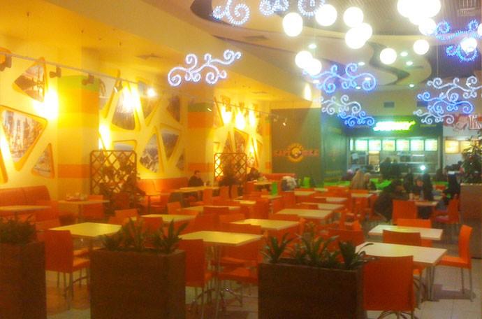 Дизайн интерьера ресторанного дворика, фото.