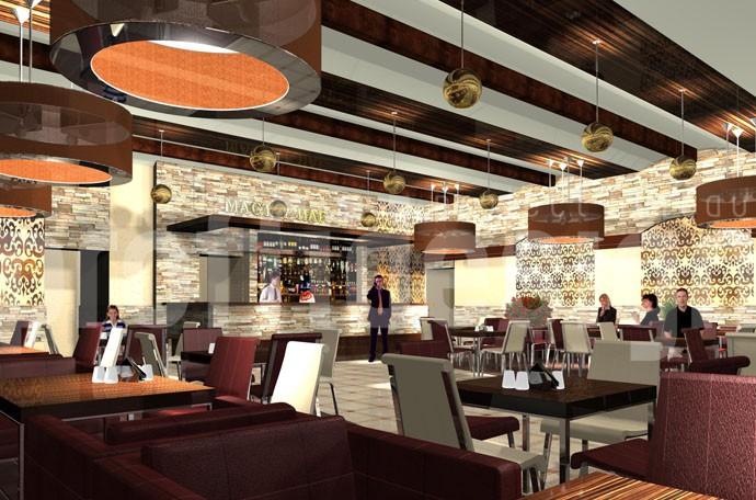 Дизайн интерьера пивного ресторана, 3д-визуализация