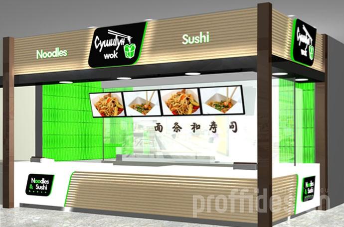 Дизайн лапшичной-суши-бара «СушиТун wok» зд-моделинг