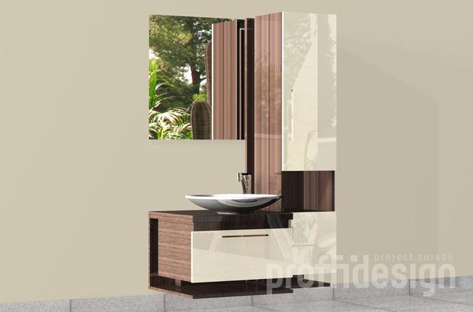 Комплект мебели для ванной: тумба, высокий шкаф и зеркало