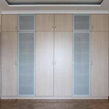 Встроенный шкаф с дверцами из матированного стекла для гостиной
