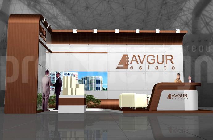 Дизайн проект выставочного стенда компании АВГУР ЭСТЕЙТ- Москва