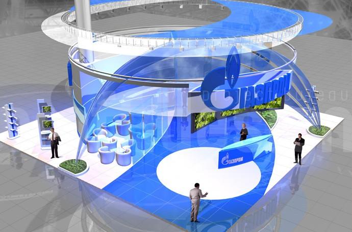 Дизайн выставочного стенда компании Газпром фото отчёт