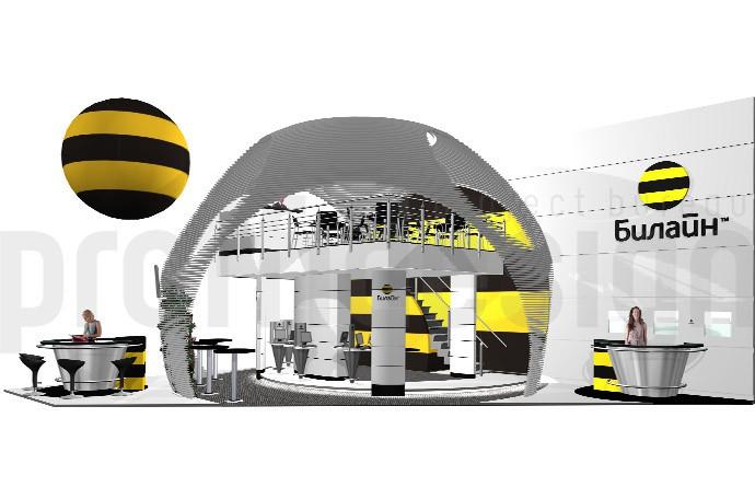 Дизайн проект двухэтажного выставочного стенда Билайн