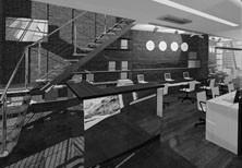 Дизайн интерьера двухэтажного офиса  в стиле «лофт» для юридической компании